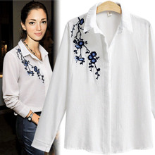 Autumn new fashion embroidered white hot style of foreign trade women long sleeve shirt elegant show thin joker cotton blouse