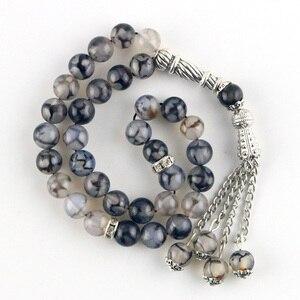 Image 3 - 8mm Perlen Natürliche Achat Runde Dekorative Perlen 33 Islamischen Rosenkranz Muslimischen Tasbih Allah Perlen Armband Quaste Anhänger tesbih