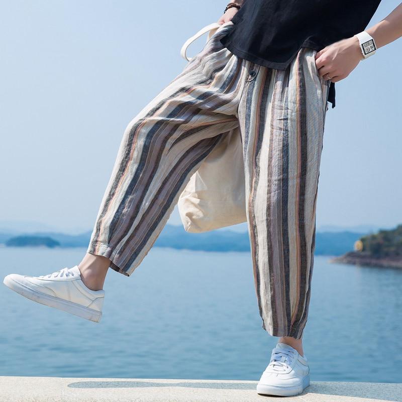 INCERUN Nepal Pants Women Men Baggy Pants Stripe S-5XL Loose Elastic Waist Harem Trousers Male HipHop Wide Legs Pants Hombre