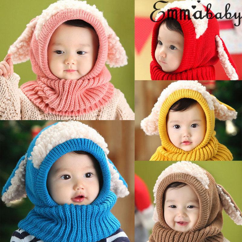 Newborn Kids Baby Boy Girl Fur Pom Hat Winter Warm Knit