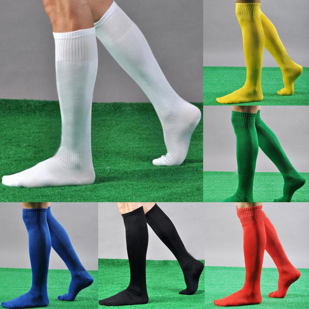 Mens Sport Football Soccer Plain Long Socks Over Knee High Sock Baseball Hockey