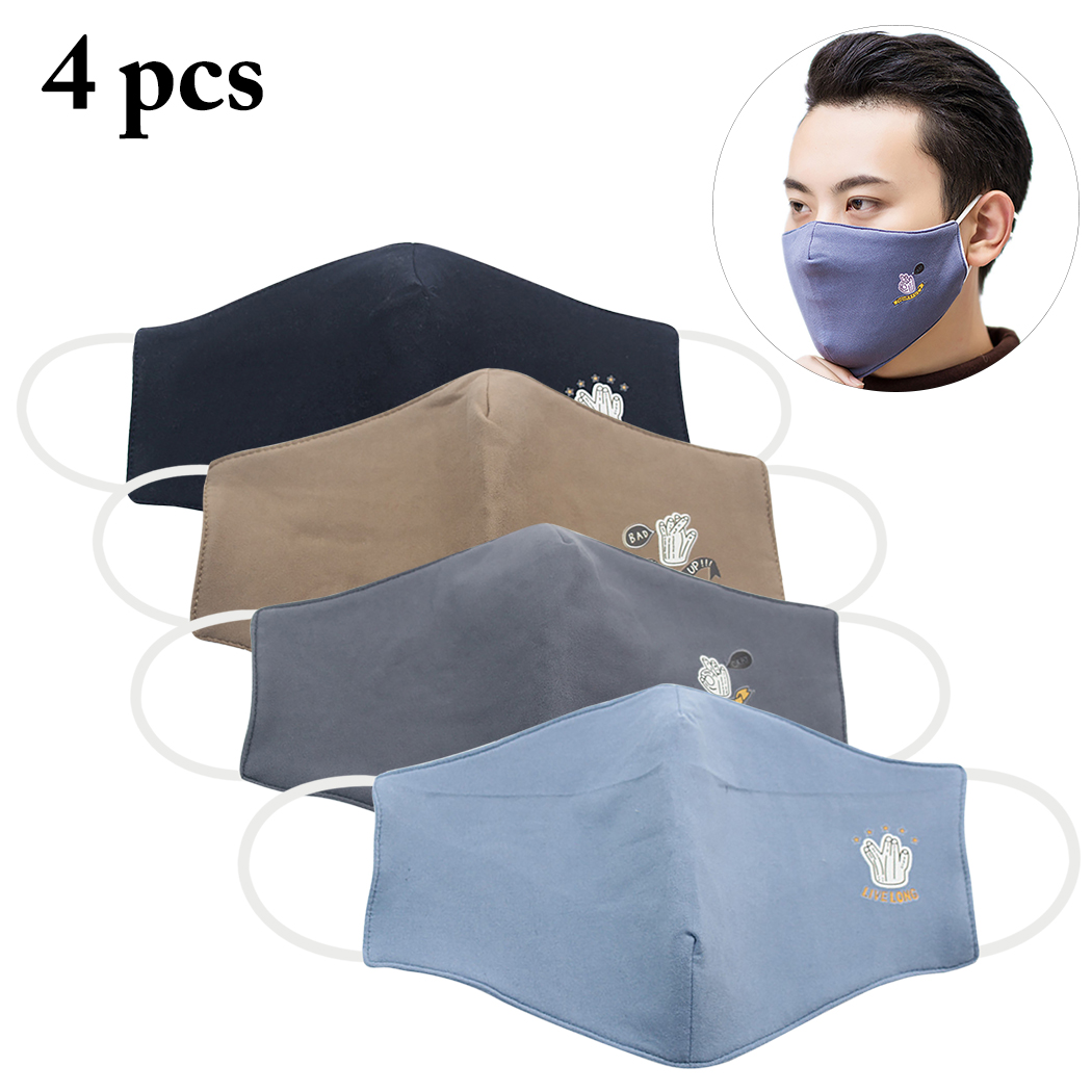 4pcs Mouth Mask Cotton Blend Anti Dust And Face Bacteria Flu Nose Protection Face Mouth Mask Fashion Reusable Masks For Men