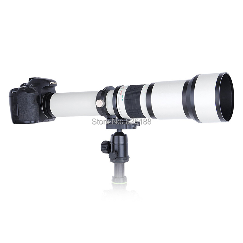 JINTU White 650-1300mm MF suppuer telephoto <font><b>Lens</b></font> Kit +T2 ring adapter for <font><b>SONY</b></font> A900 A850 A700 A560 A580 <font><b>A230</b></font> A77 A99 A58 Camera image