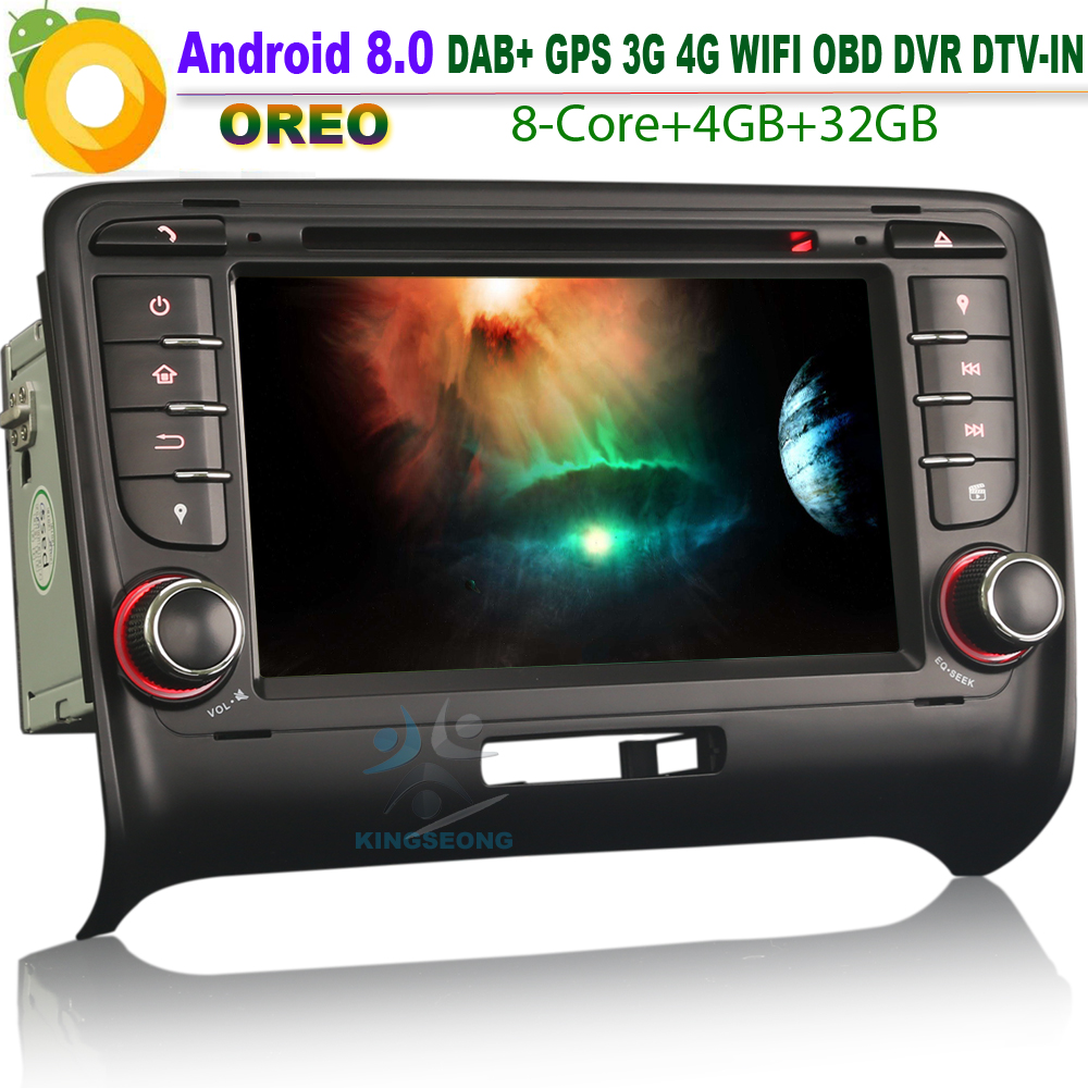 7 Octa core Android 8.0 Autoradio DAB+ Sat Nav GPS Navigation DVD WiFi 4G GPS Radio Bluetooth Car stereo for AUDI TT MK2