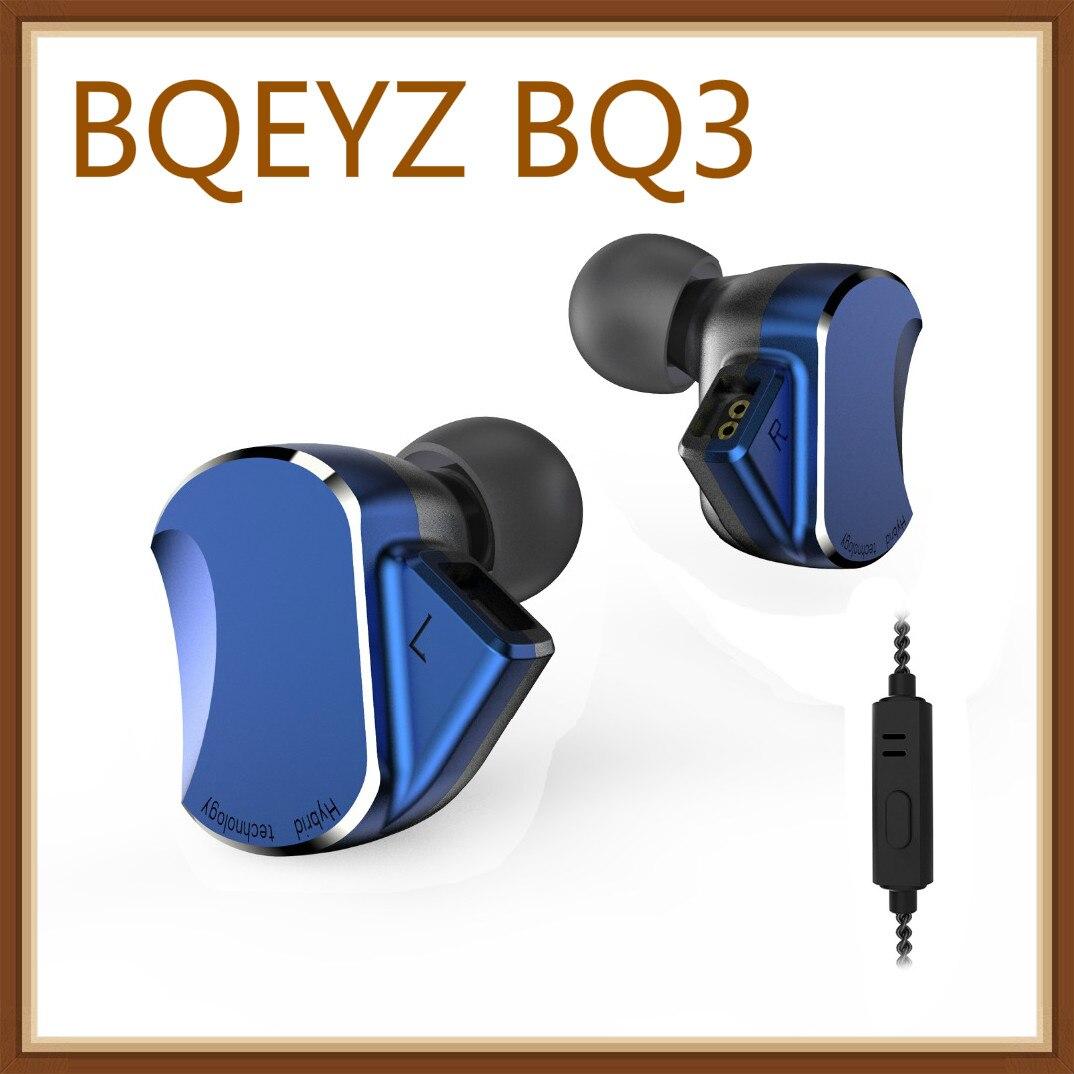 BQEYZ BQ3 3BA+2DD Hybrid Drive Metal In Ear Earphone HIFI DJ Monitor Running Sport Earphone Earplug Headset 2Pin Detachable QT2