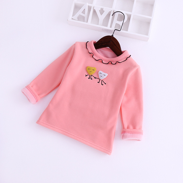 Girls T shirt wooden ear collar long sleeved embroidered plus velvet bottoming shirt autumn winter cotton children 39 s clothing in Tees from Mother amp Kids