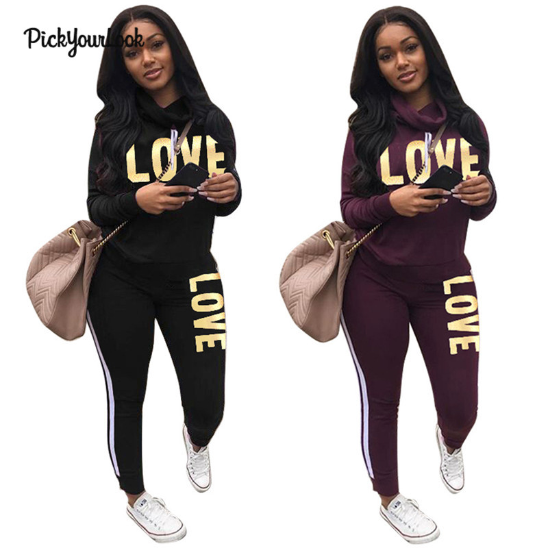 Pickyourlook Hot New Tracksuits Women Set Love Letter 2 Piece Female Clothing For Autumn Winter Long Sleeve Lady Clothes