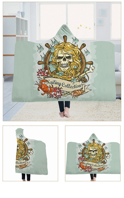 3D SKULL PIRATE HOODED BLANKET (5 VARIAN)