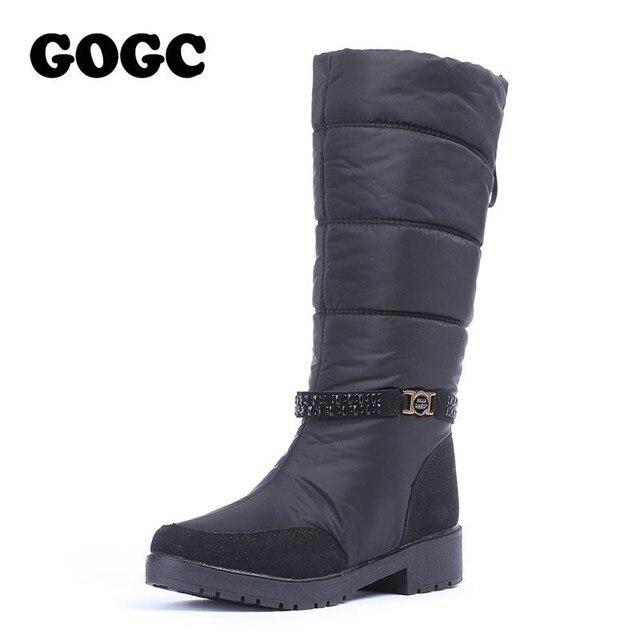 GOGC/непромокаемые зимние сапоги, женские зимние сапоги, теплая зимняя обувь, женские удобные брендовые сапоги до колена, большие размеры, 9890