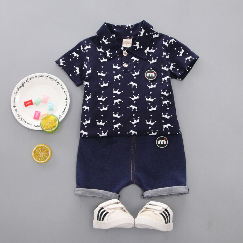 >2019 Kids Short Sleeve Print Toddler Kids Boy <font><b>Clothes</b></font> <font><b>Small</b></font> <font><b>Crown</b></font> Tops T-Shirt Shorts Pants Outfit Set 1-5 T