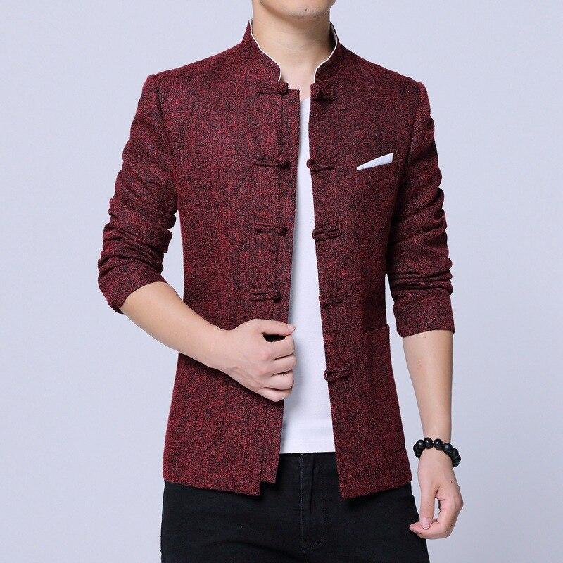 #4038 Chinesischen Stil Vintage Blazer Homme Stehkragen Rot/grau Einreiher Männer Blazer Slim Fit Mode Plus Größe M-4xl Dauerhaft Im Einsatz