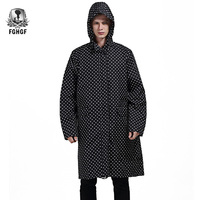 FGHGF One size Long Style Adults Raincoat Men Poncho Black Dot Waterproof Trench Coat Rain Coat Female Rainwear Jackets Outdoor