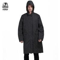 FGHGF One size Long Style Adults Raincoat Men Poncho Black Dot Waterproof Trench Coat Rain Coat Female Rainwear Jackets Outdoor