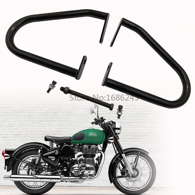 Black Engine Guard Crash Bar Fits For Royal Enfield Classic 500