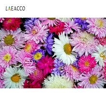 Laeacco Colorful Daisy Backdrop Baby Wedding Portrait Photography Backgrounds Customized Photographic Backdrops For Photo Studio 10x10ft 3x3m scenic muslin backgrounds photography photo studio backdrops hand painted flower muslin backdrop wedding