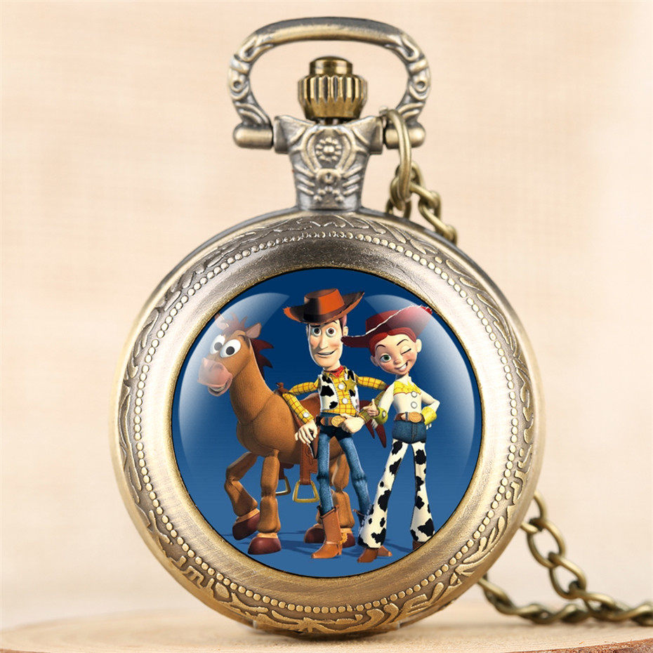 Lovely Toy Story Theme Quartz Pocket Watch For Kids Numerals Display Pendant Clock Birthday Gifts For Boys Girls With Chain