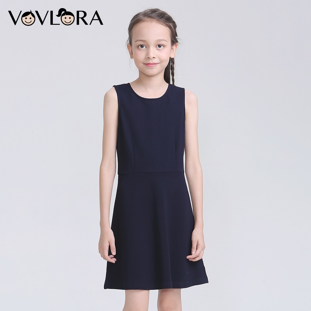 Sleeveless O Neck School Kids Dresses For Girls Solid Lace -7756