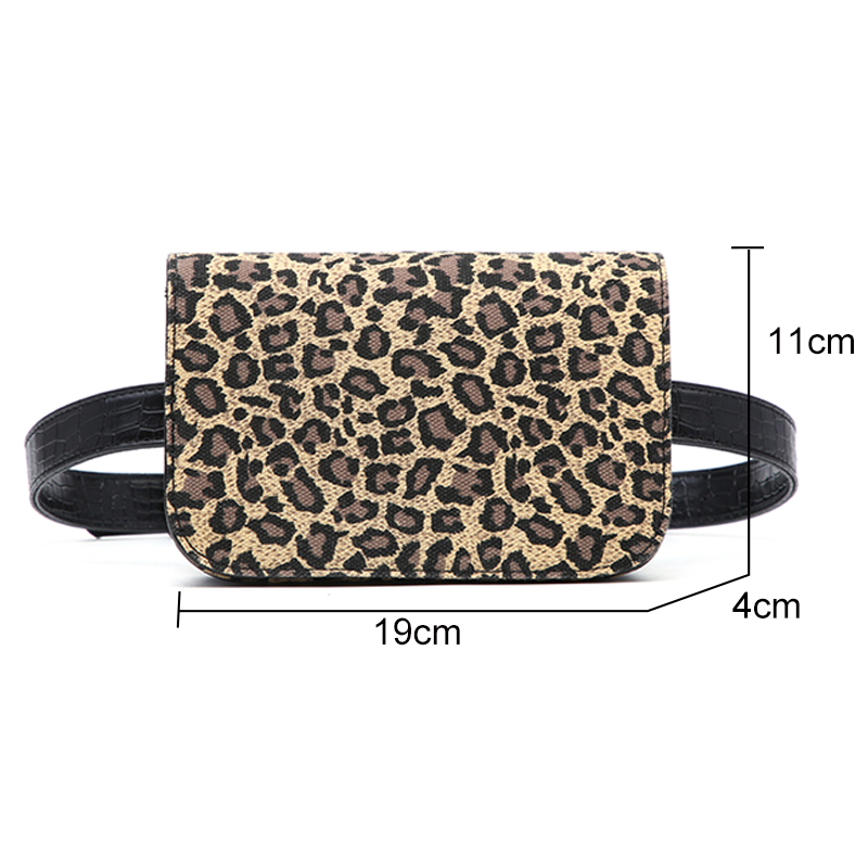Retro Women Small Waist Packs Casual Smart Leopard Design Chest Bags Wide Strap Single Shoulder Bag Ladies Fanny Pack Bum Pouch in Waist Packs from Luggage Bags