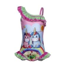 AmzBarley Girl Unicorn Rainbow One Piece Swimwear Unilateral Sling Ruffle Swimsuit Kids Swimming Swim Bathing Suit