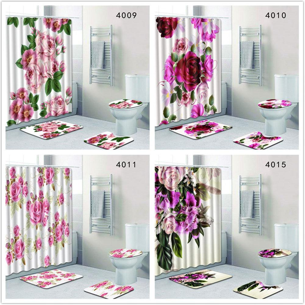 AsyPets 4PcsSet Flowers Printing Series Non-Slip Toilet Pad Cover Bath Mat + Shower Curtain Set