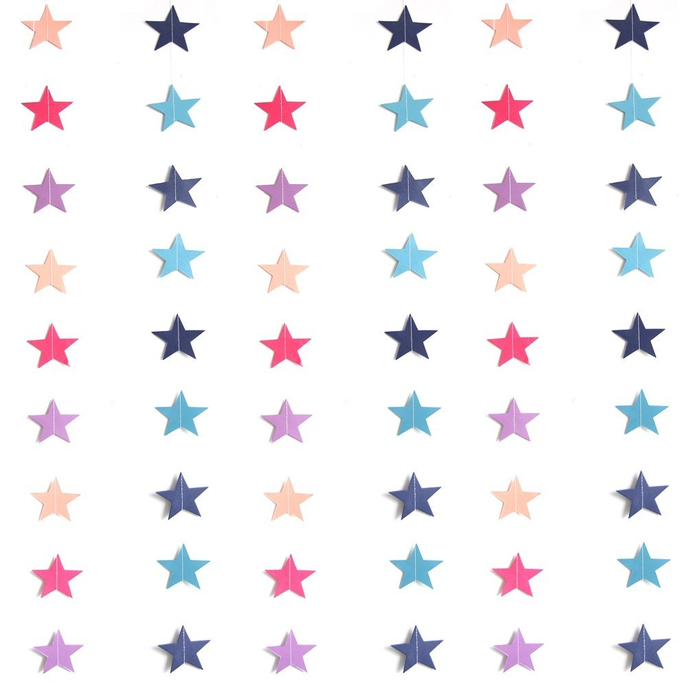 1PC 4M  Paper Star Wall Hanging String Chain Paper Star Garlands DIY Home Birthday Party Banner Children Room Decorate Supplies