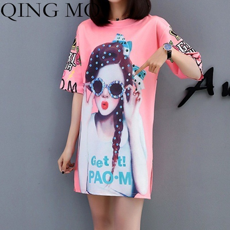QING MO Beauty Printing Dress Women Short Sleeve Dresses 2019 Summer Cartoon Dress Women Casual Dress