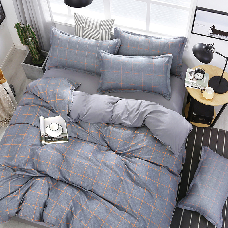 4pcs/set High Quality Orange Stripes High Quality Gray Bedding Set Bed Linings Duvet Cover Bed Sheet Pillowcases Cover Set 51