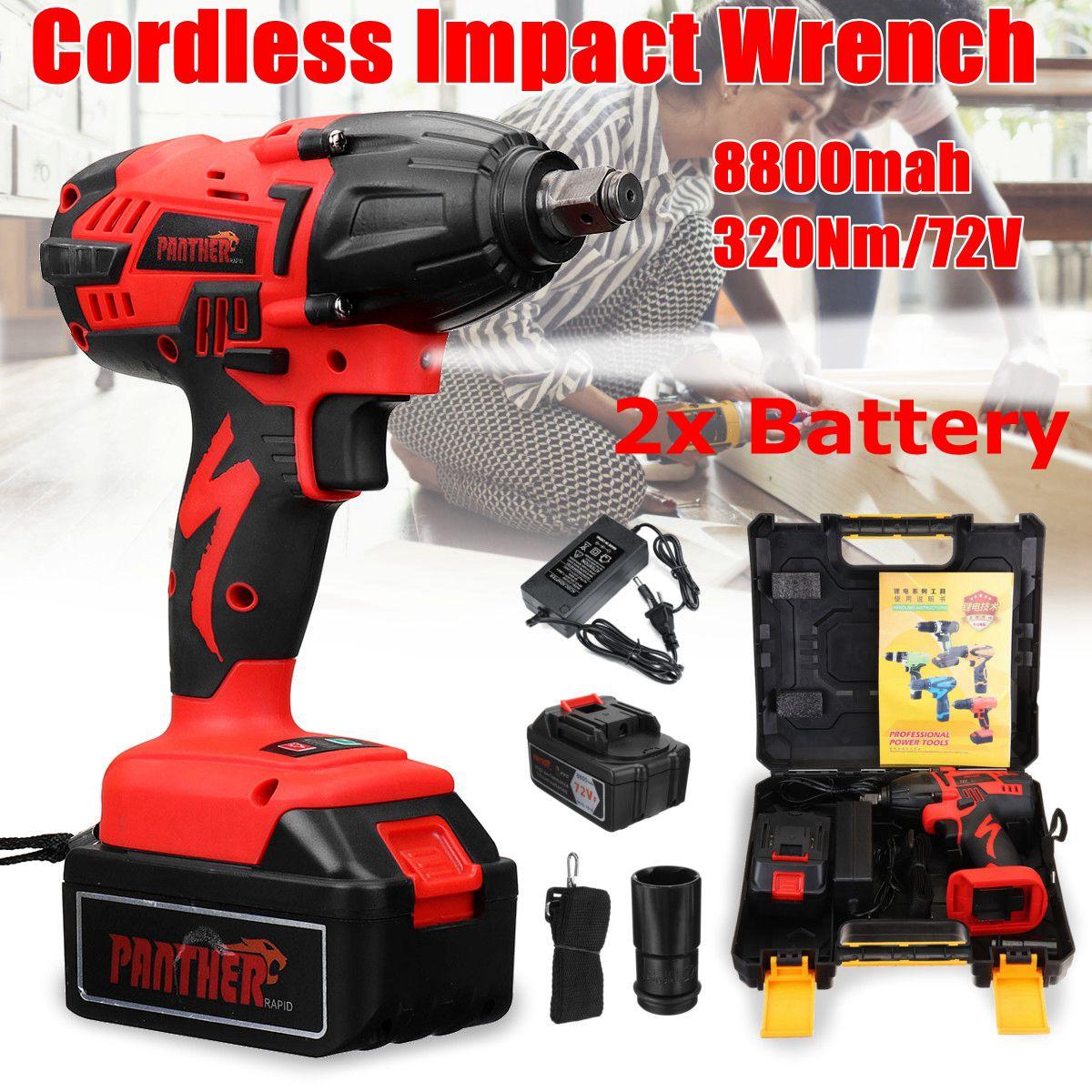 25 V 8800Ah Li-ion boulonneuse électrique Canons 320Nm High Torque clé à chocs Sans Fil 1/2 Batteries 1 Chargeur Puissance Outil