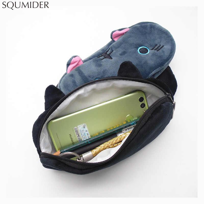 Plush Pencil Case School Supplies For Girls Stationery Office Cute Kawaii Cartoon Cat Pen Bag pouch kits Kids Gift Makeup bag
