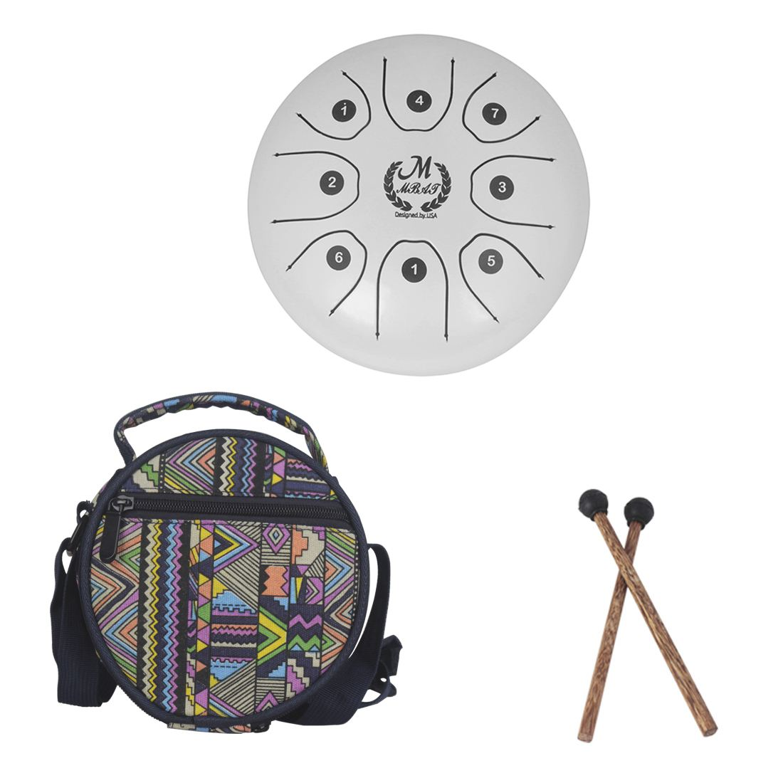 MMBAT 5.5 inch small size steel tongue drum with C D E F G A B C 8 notes with free case and rubber mallets for children instruMMBAT 5.5 inch small size steel tongue drum with C D E F G A B C 8 notes with free case and rubber mallets for children instru