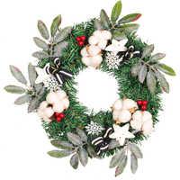 35cm Handmade Christmas Wreath Cotton Wreath Circle Silk Artificial Garland Hanging Decoration Celebration Party Supplie