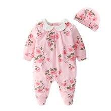Одежда для новорожденных девочек с цветочным принтом; комбинезоны с длинными рукавами и шапки; комплекты одежды принцессы для девочек; комбинезоны
