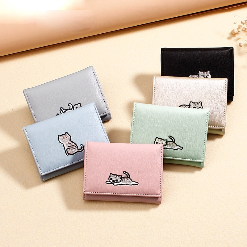 Korean Version Ladies Simple Purse Fashion Japanese And Embroidery Line Cat Short Wallet