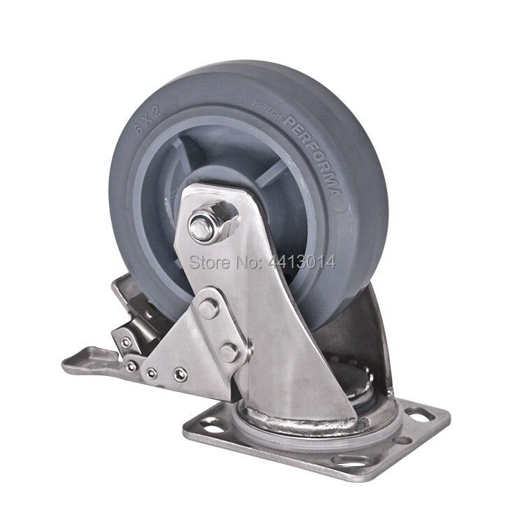 Heavy 4 Inch Stainless Steel Casters Wheels 250KG TPR Wheels Castors Plate Bearing Swivel Roller Industrial Heavy 4 Inch Stainless Steel Casters Wheels 250KG TPR Wheels Castors Plate Bearing Swivel Roller Industrial