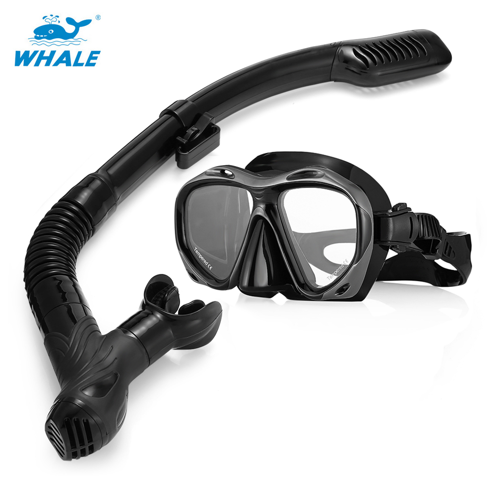 WHALE MK900 + SK900 Professional Adult Diving Silicone Mask Glasses Snorkel Set With Adjustable Silicone Strap Buckles