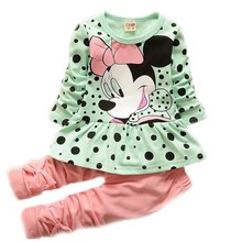 Low Price Promotion 2018 New European and American Hot Spring and Autumn Girls Baby Cartoon Leisure Suit Cotton Clothing Sets(China)