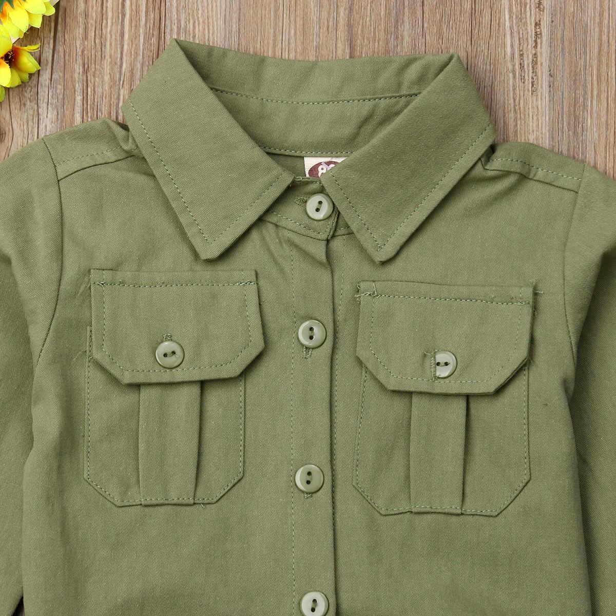 2019 модная детская одежда для маленьких девочек армейские брюки карго комбинезон ромпер комбинезон с длинными рукавами и карманом из хлопка на лето и весну