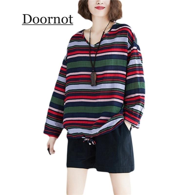 Doornot Oversized Striped Woman Tops & Tees V neck Long sleeve Ladies Tshirts Fashion Loose Drawstring Linen Women T-shirt 1