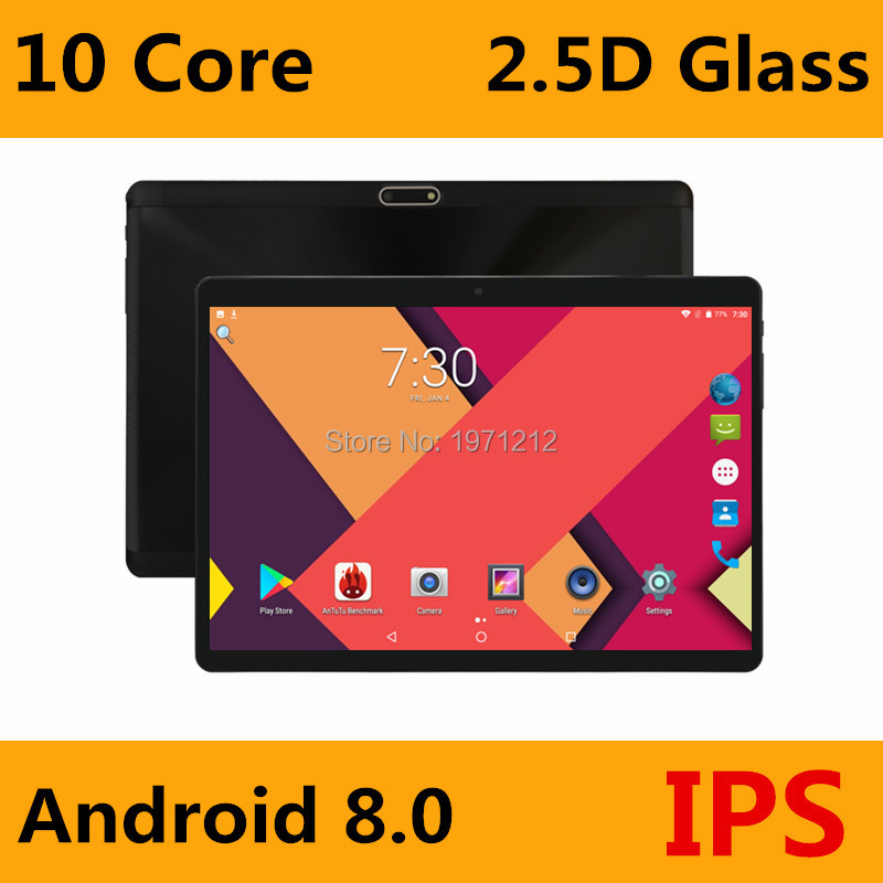 Super 2.5D verre trempé IPS 10 pouces tablette PC 4 GB RAM 64 GB ROM MTK6797 Deca Core 3G 4G LTE FDD double cartes Sim PC tablettes 10.1