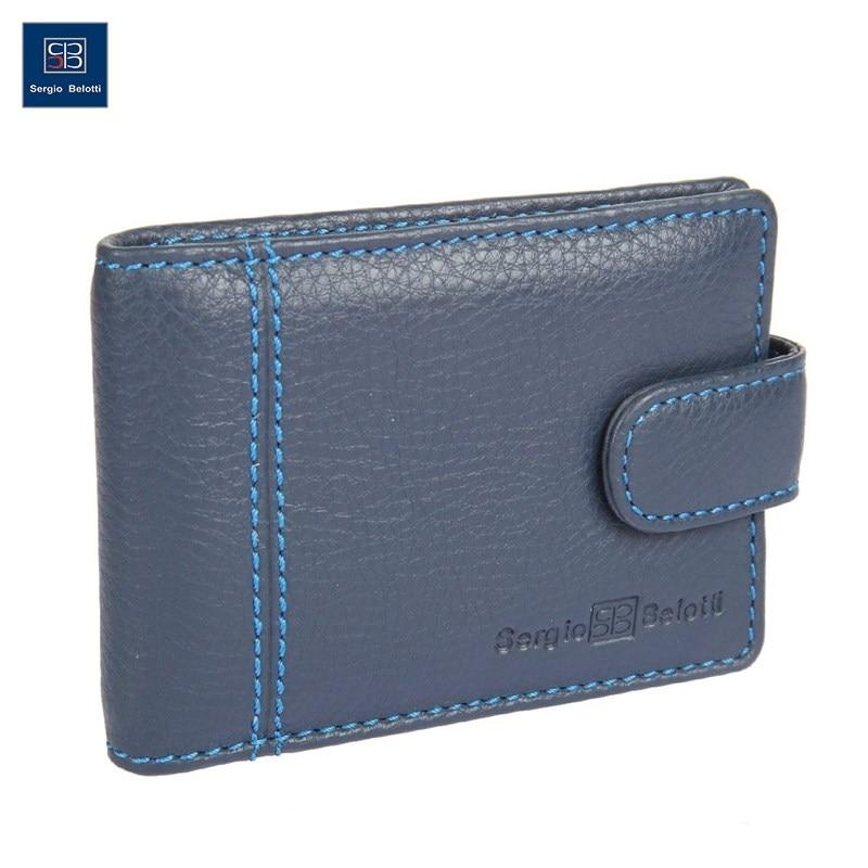 Business Card Holder Sergio Belotti 2929 indigo jeans short genuine leather cowhide men wallet business card coin money male purse card holder