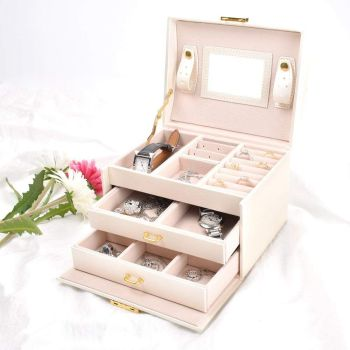 Organizer jewelry and cosmetics beauty case with 2 drawers 3 layers