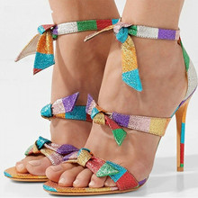 Contrast Colors Bling Straps Bow Women Sandals Open Toe Hollow Gladiator Shoes Woman Summer Stiletto High Heels Fashion
