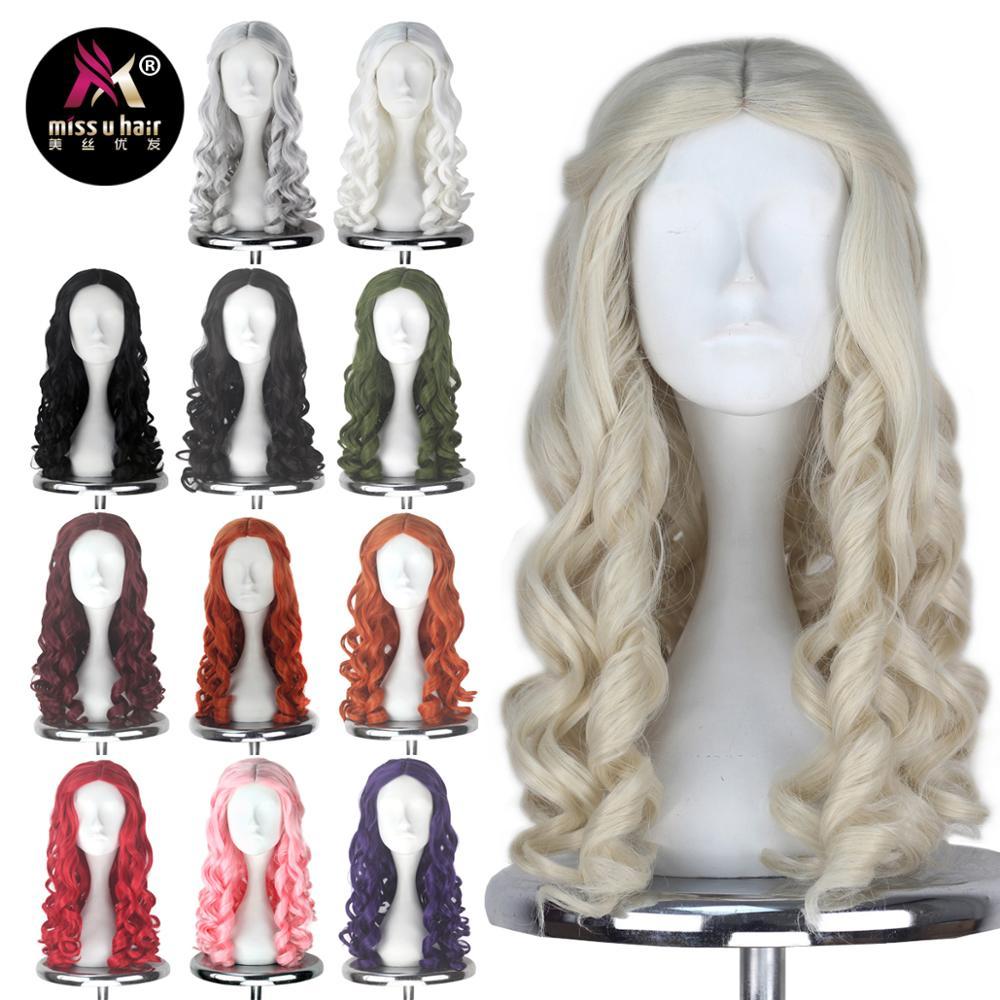 Miss U Hair Women Girl's White Long Blonde Curly Queen Style Hair Halloween Cosplay Wig Adult Kids