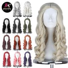 Miss U Hair peluca blanca para mujer y niña, cabello de estilo Queen rizado Rubio larga, Cosplay de Halloween, para adultos y niños