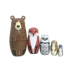 5pcs Russian Matryoshka Dolls Bear Ear Nesting Dolls Wooden Toy Cllection Ornaments for Home Decoration Baby Educational Toys mnotht 7 layer wooden russian dolls handmade paint animal pattern tasteless dry basswood matryoshka doll education toys l30