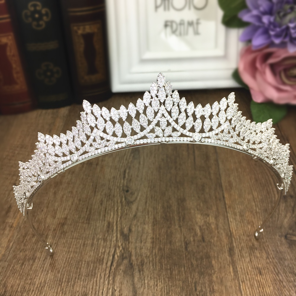 Paved Cubic Zircon Tiara Zirconia Crown Wedding Hair Accessories Bride CZ Jewelry Coroa Novia Bijoux Cheveux