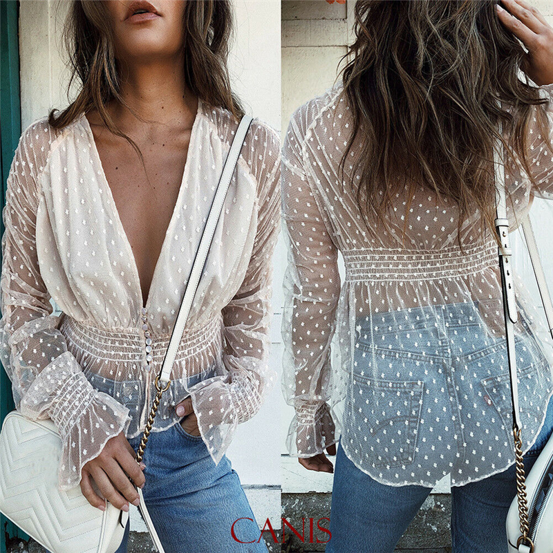 Women Puff Sleeve Polka Dot Casual Loose See Through   shirt   Tops   Blouse     shirt   women summer see through   blouse     shirt