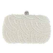 Berbentuk Oval Pearl Beaded Casing Wanita Putih Tas Genggam Tas Elegan  Rantai Bahu Tas Tangan Pernikahan Bridal Dompet Clutch Wa. 75aec26cea