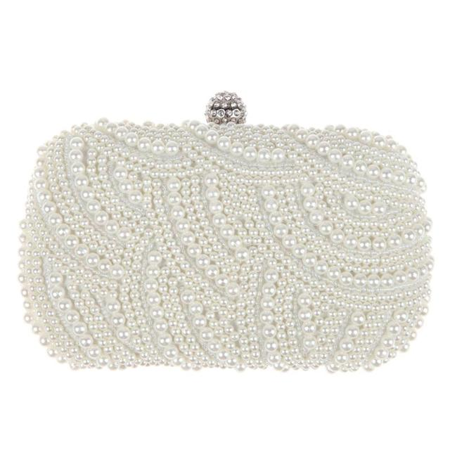 11179933e5 Ovale A Forma di Perla In Rilievo Della Borsa Delle Donne della Frizione in  Bianco Tracolla Catena Elegante Borse Da Sposa Femminile Z80