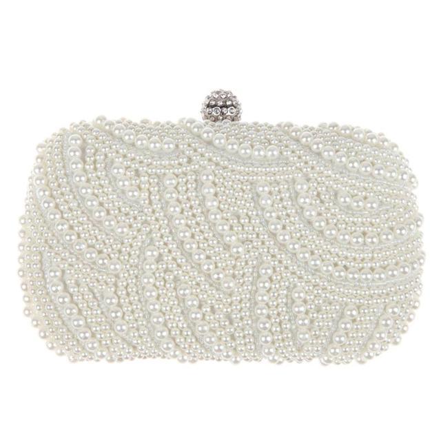 67a67cda4b Oval Shaped Pearl Beaded Handbag Women White Clutch Bag Elegant Chain  Shoulder Handbags Wedding Bridal Purse